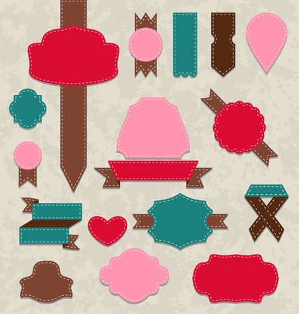 Illustration set ribbons, vintage labels, geometric emblems - vector Stock Vector - 22588104