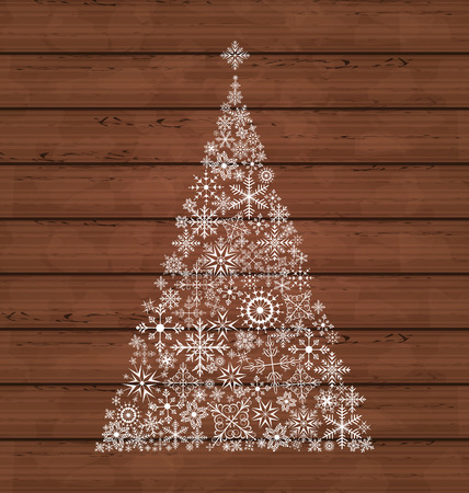 navidad: Illustration Christmas pine made of snowflakes on wooden background - vector Illustration