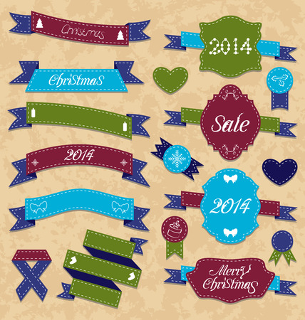 Illustration Christmas set geometric labels and ribbons - vector Vector