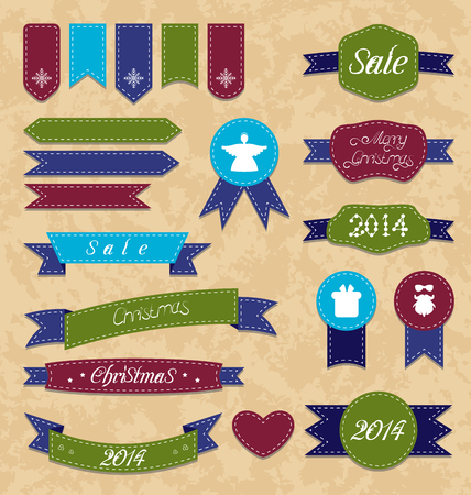 Illustration Christmas set geometric emblems and ribbons - vector Vector