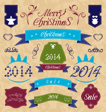 Illustration Christmas set - labels, ribbons and other decorative elements - vector Vector