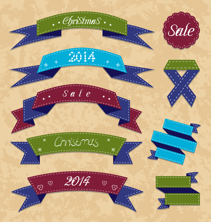 Illustration Christmas collection variation labels and ribbons - vector Vector