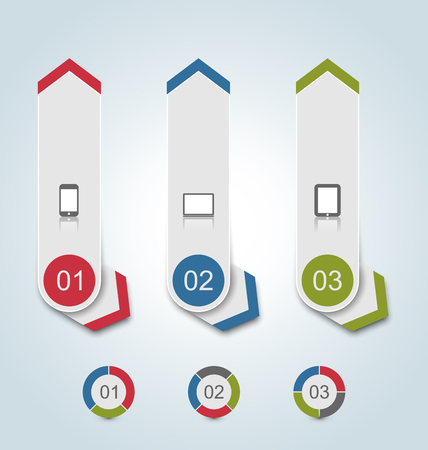 Illustration set paper labels with gadgets infographic icons - vector illustration