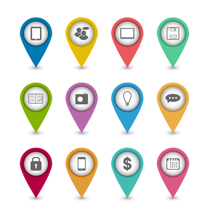 Illustration group business pictogram icons for design your website - vector illustration