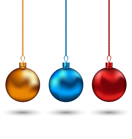 blue balls: Illustration Christmas colorful balls isolated on white background - vector