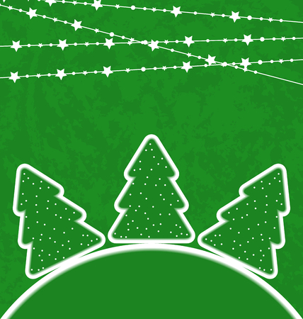 Illustration Christmas set trees with garland - vector  Stock Vector - 24211383
