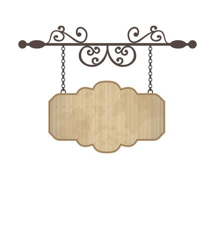 Illustratie houten bord met plaats voor tekst, bloemen smeden elementen - vector Stock Illustratie