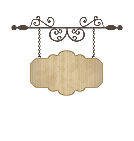 Illustration wooden sign with place for text, floral forging elements - vector
