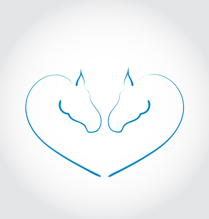 Illustration two horses stylized heart shape - vector Vector