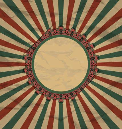 artboard: Illustration retro vintage grunge label on sun rays background - vector Illustration