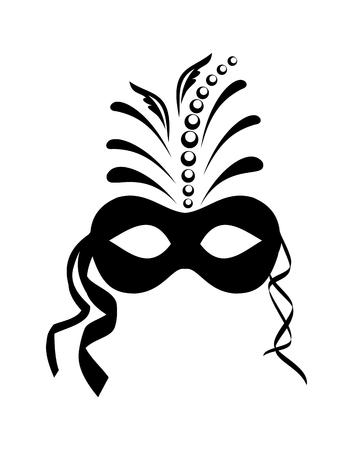Illustration close up black carnival mask isolated on white background - vector Illustration
