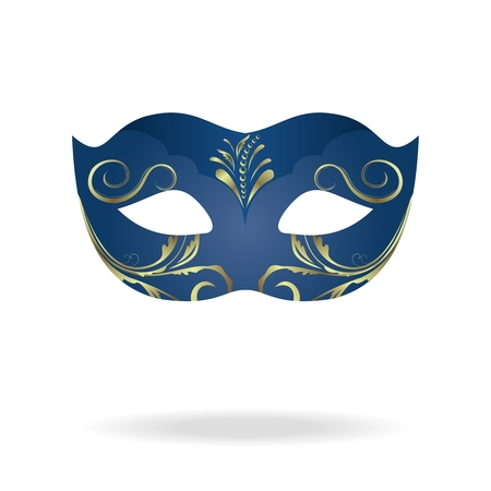 Illustration of realistic carnival or theater mask isolated on white background - vector Vector