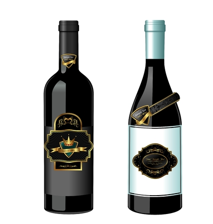 champaign: Illustration of set wine bottle with label isolated on white background - vector