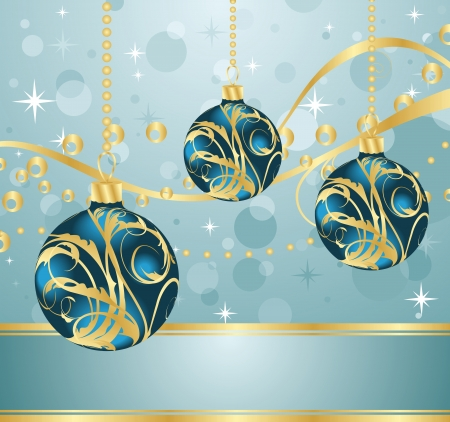 Illustration abstract blue background with Christmas balls - vector Vector