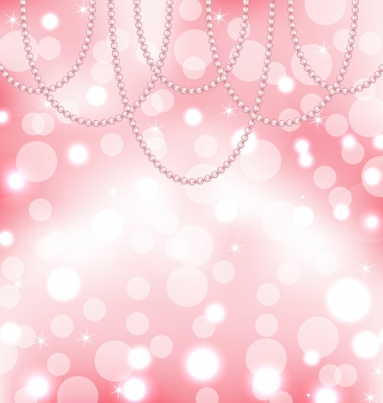 Illustration cute pink background with pearls - vector