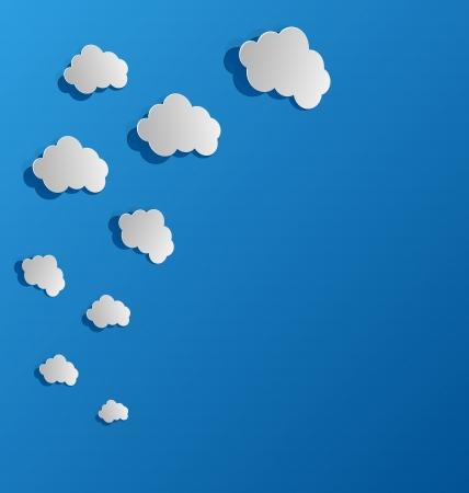 to cut out: Illustration set cut out paper clouds, speech bubbles - vector