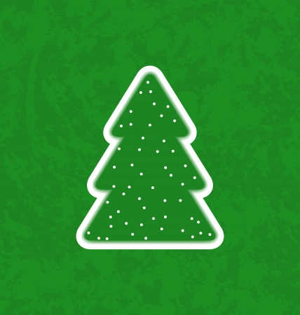 Illustration green paper cut-out christmas tree - vector Stock Vector - 24211533