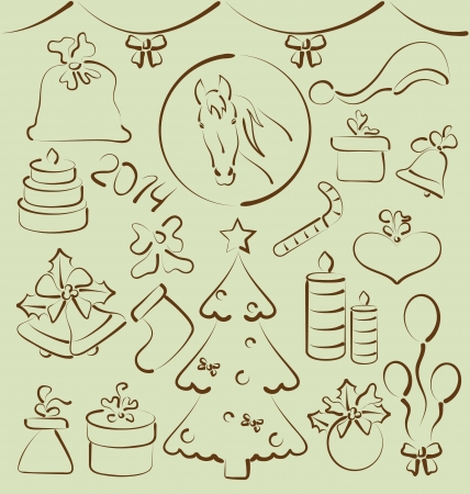 Illustration Christmas set elements stylized hand drawn - vector Vector