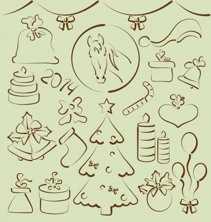 Ilustraci�n de la Navidad situado elementos dibujados a mano estilizada - vector