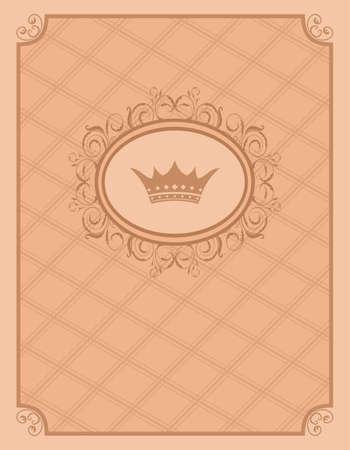 Illustration vintage background with floral frame and crown - vector Illustration