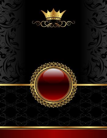golden shield: Illustration golden vintage frame with floral medallion- vector
