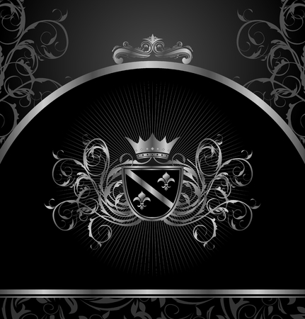 Illustration luxury vintage aluminium frame template - vector Vector