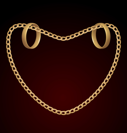 Illustration of jewelry two rings on golden chain of heart shape - vector eps10 mesh Vector