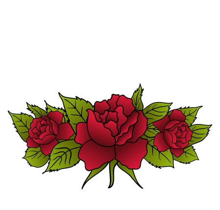 rose tattoo: Illustration beautiful red roses isolated - vector