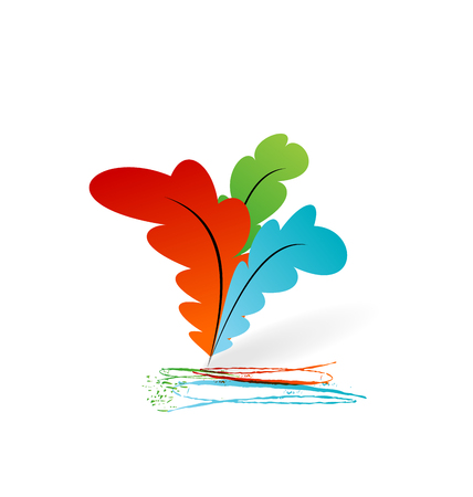 Illustration collection colorful artistic feathers with ink - vector Stock Vector - 24211614
