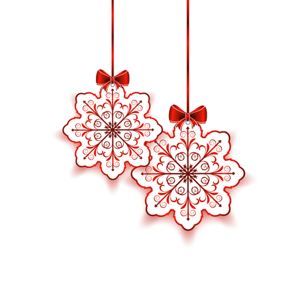 Illustration Christmas snowflakes with bow isolated on white background - vector Vector