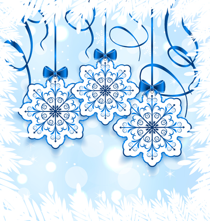 Illustration Christmas snowflakes with bow, winter decoration - vector Vector
