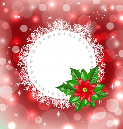 Illustration Christmas card with flower poinsettia - vector