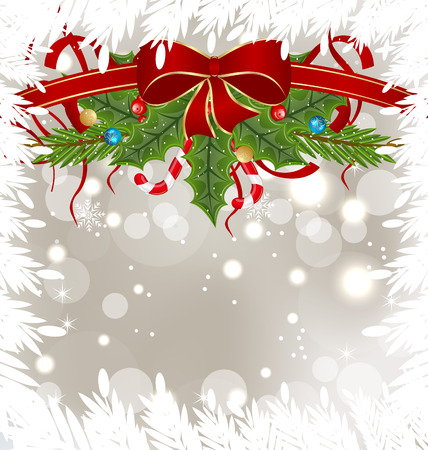 Illustration Christmas frosty card with holiday decoration - vector Vector