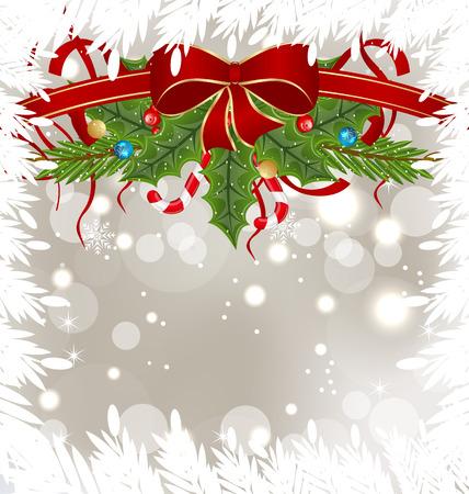 the decor: Ilustraci�n Tarjeta de Navidad escarchada con decoraci�n de vacaciones - vector Vectores