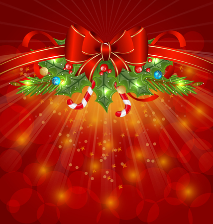 Illustration Christmas glowing packing, ornamental design elements - vector Vector