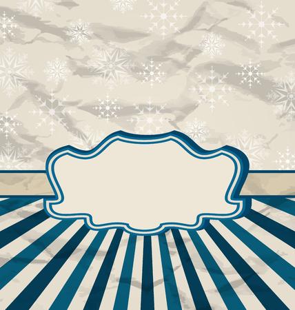 artboard: Illustration retro vintage celebration card with snowflakes - vector