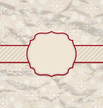 artboard: Illustration old vintage invitation with snowflakes - vector