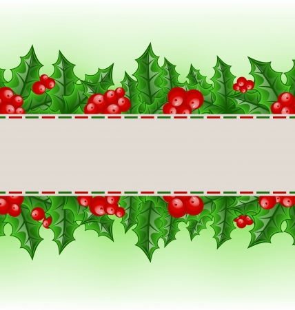 ilex aquifolium holly: Illustration Christmas card with holly berry branches - vector