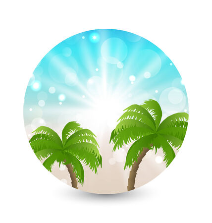 oceanside: Illustration summer holiday picture with sunlight and palm leaves - vector