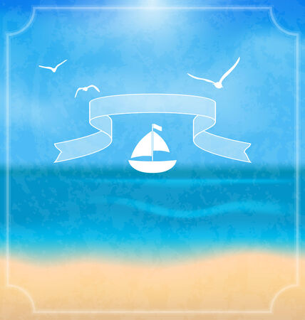 Illustration holiday card with beach for your summer design - vector Vector