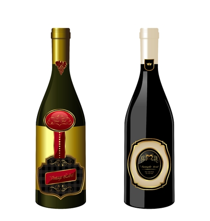 Illustration of set wine bottle with label isolated on white background - vector Vector