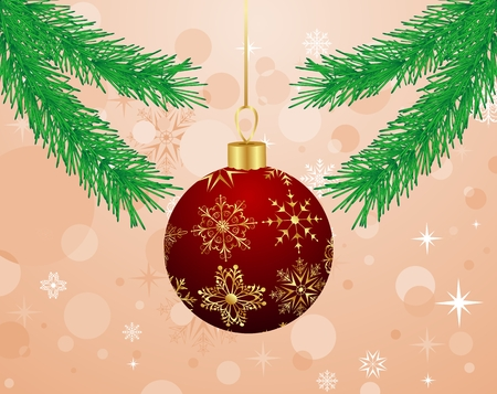trumpery: Illustration Christmas background with branch and ball - vector