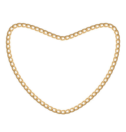 necklet: Illustration of jewelry golden chain of heart shape - vector eps10
