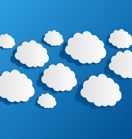 Illustration set cut out clouds, blue paper - vector Vector