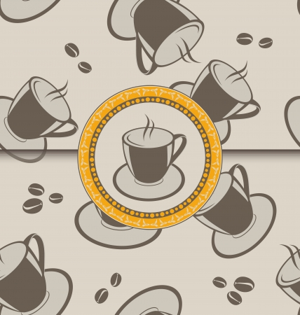 Illustration seamless background with coffee cups for design packing - vector Vector