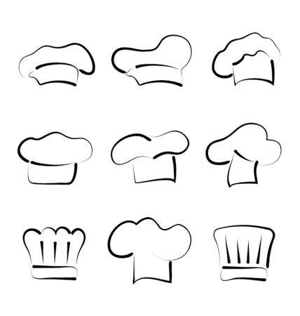 Illustration set of chef hats isolated on white background, sketch style - vector