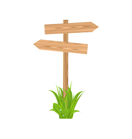 guidepost: Illustration wooden signboard for guidepost, grass - vector