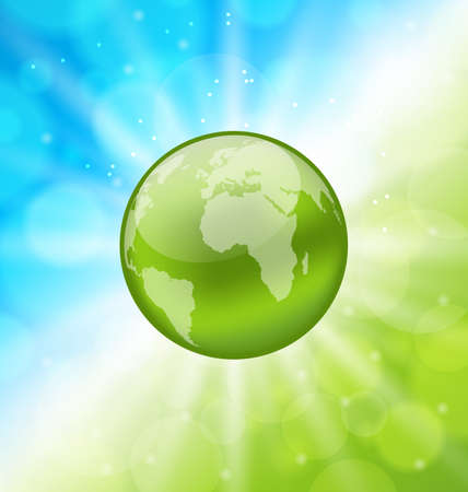 go green icons: Illustration planet earth on glowing abstract background - vector Illustration