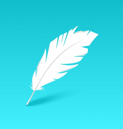 poet: Illustration white feather isolated on blue background - vector