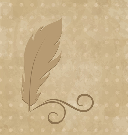 Illustration feather calligraphic pen, vintage background - vector Stock Vector - 24332120